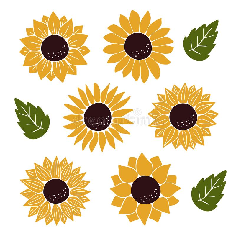Free Hand Drawn Flat Sunflower Vector Illustration Stock Photo - 205750470