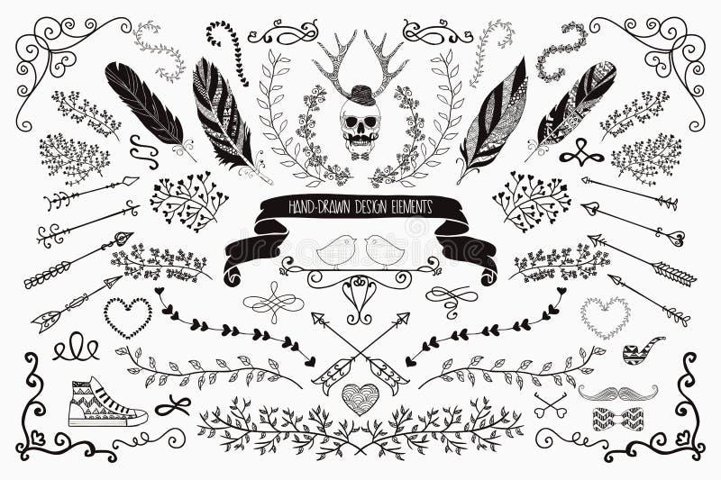 Hand-Drawn Floral στοιχεία σχεδίου απεικόνιση αποθεμάτων