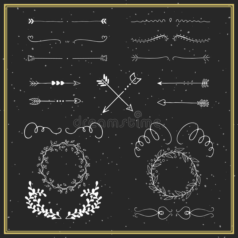Collection of hand drawn design elements royalty free illustration