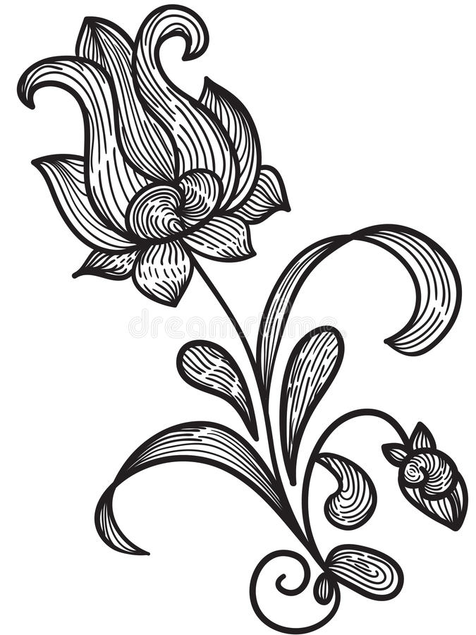 Hand drawn floral design element