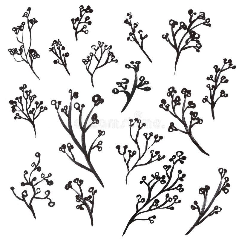 Hand Drawn Floral Doole Set stock illustration