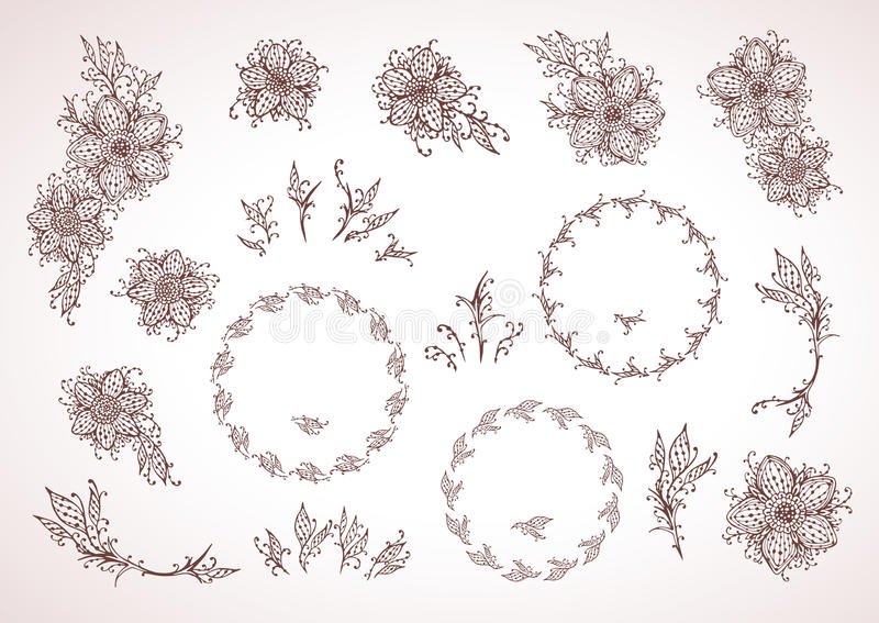 Hand drawn floral elements for design, frames and flowers. In re royalty free illustration