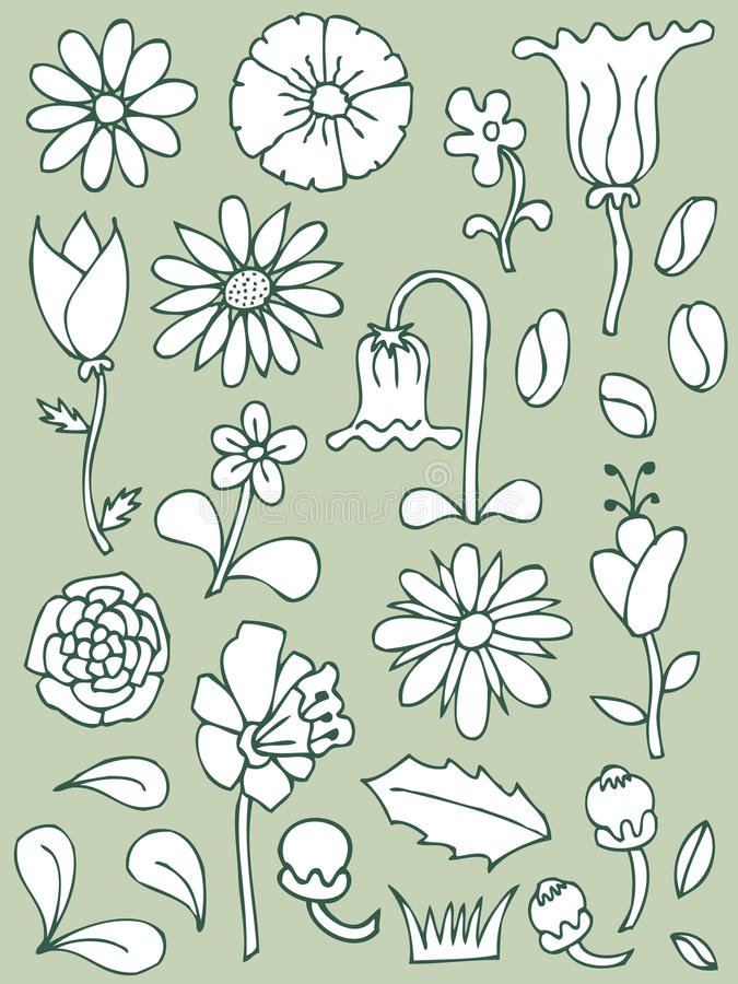 Free Hand Drawn Floral Elements, Set 1 Royalty Free Stock Photos - 10475658