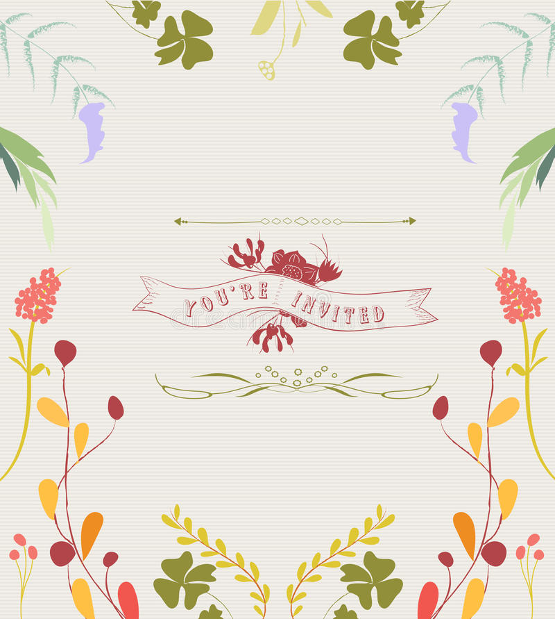 Hand Drawn Floral Frame Background stock illustration