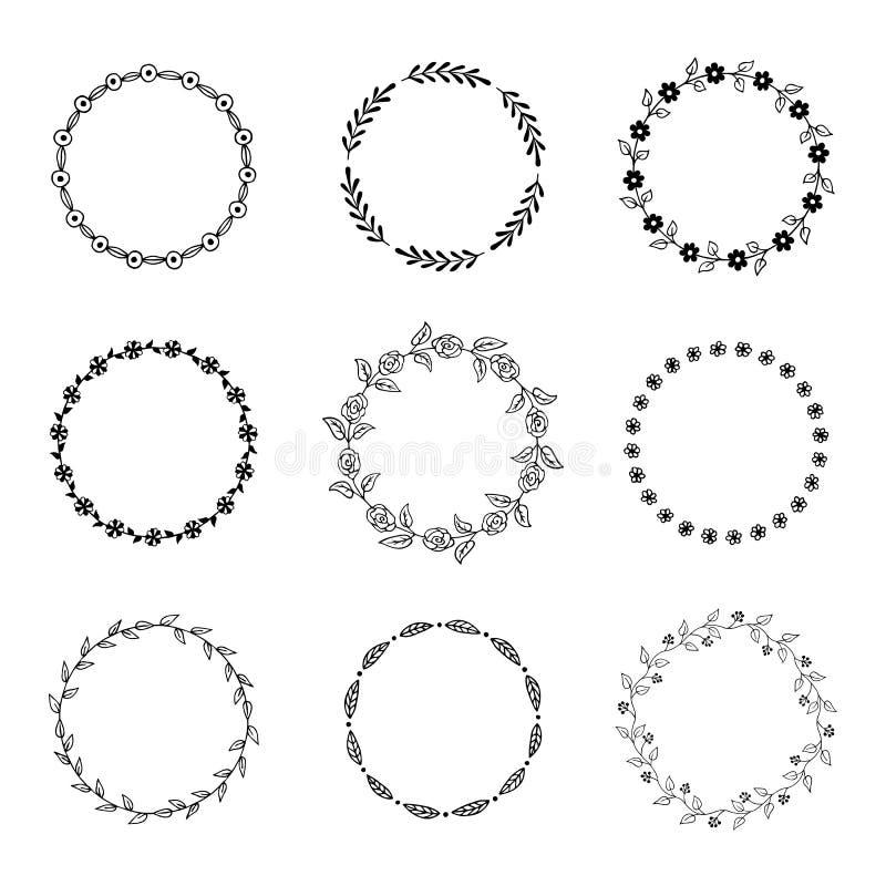 Hand drawn floral frames. Vector illustration. stock illustration