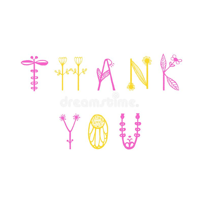 Hand Drawn floral lettering with words Thank you. Unique typographic element for postcard, greeting card or thank you card. stock illustration