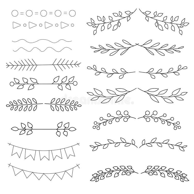 Hand drawn floral ornament dividers. Vector illustration. Lines, borders, leaves ornament. vector illustration