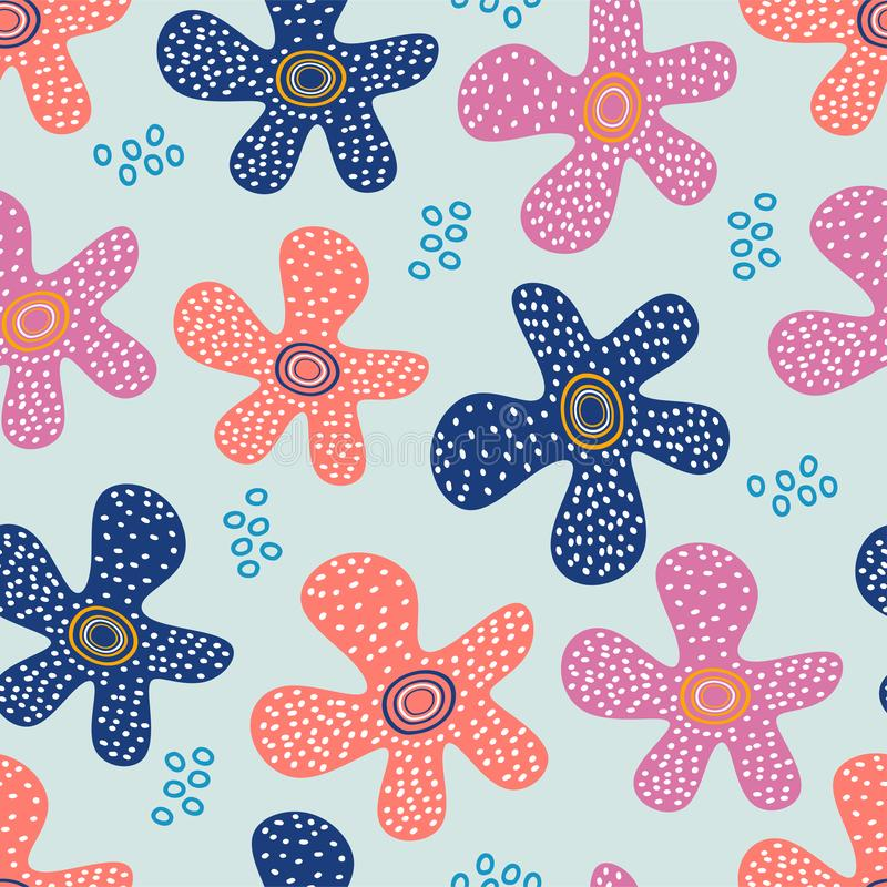Hand drawn floral pattern. Cute drawing meadow flowers Vector seamless background. Wallpaper, illustration, spring, print, summer, leaf, textile, retro vector illustration