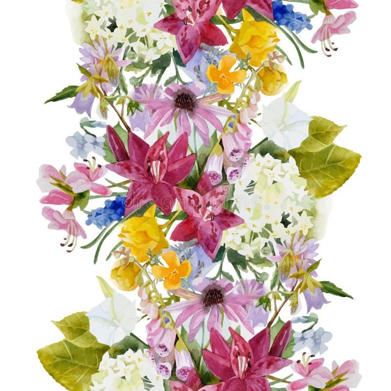 Hand drawn floral seamless border royalty free illustration