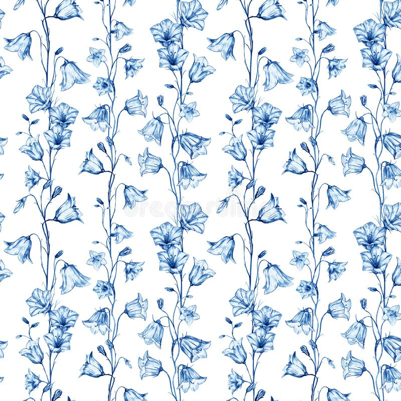 Hand drawn floral seamless pattern background with blue crystal vertical graphic bluebell flowers on white background vector illustration