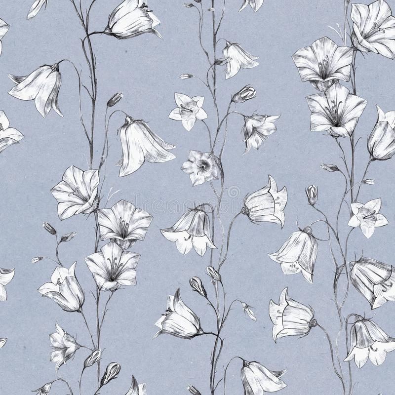 Hand drawn floral seamless pattern background with graphic bluebell flowers on blue craft paper background. Hand drawn floral seamless pattern background with stock illustration