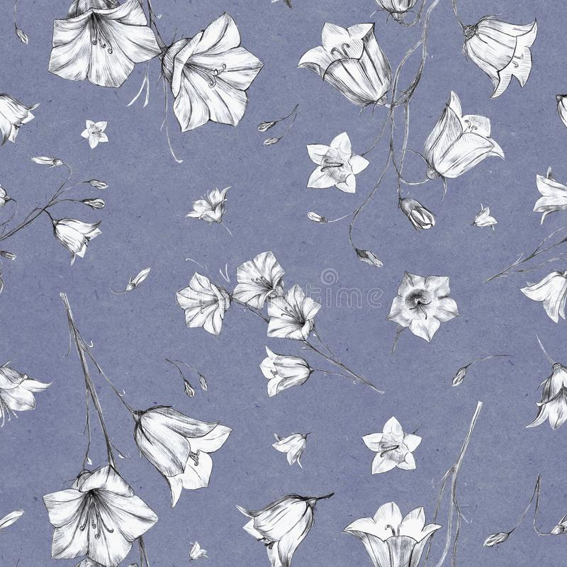Hand drawn floral seamless pattern background with randomly located graphic bluebell flowers on blue craft paper. Hand drawn floral seamless pattern background stock illustration
