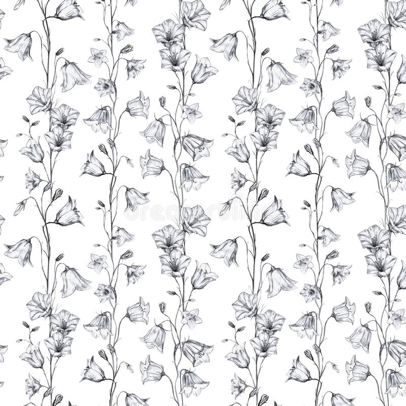 Hand drawn floral seamless pattern background with vertical graphic bluebell flowers on white background. Hand drawn floral seamless pattern background with vector illustration