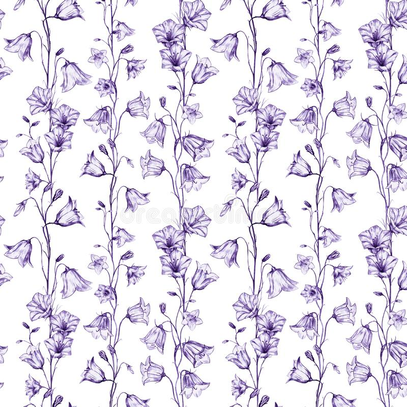 Hand drawn floral seamless pattern background with graphic lilac bluebell flowers on white background. Hand drawn floral seamless pattern background with graphic stock illustration