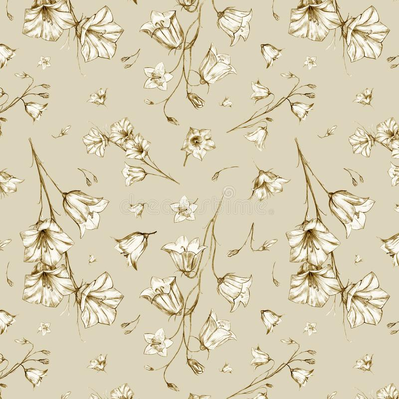 Hand drawn floral seamless pattern background with randomly located beige graphic bluebell flowers on beige background. Hand drawn floral seamless pattern vector illustration