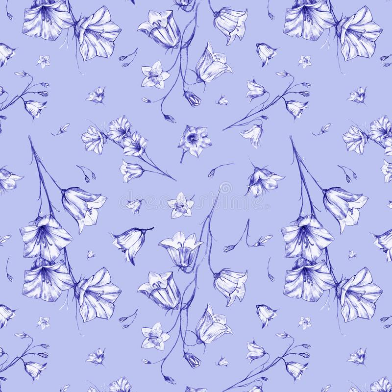 Hand drawn floral seamless pattern background with randomly located blue graphic bluebell flowers on blue lilac. Hand drawn floral seamless pattern background royalty free illustration