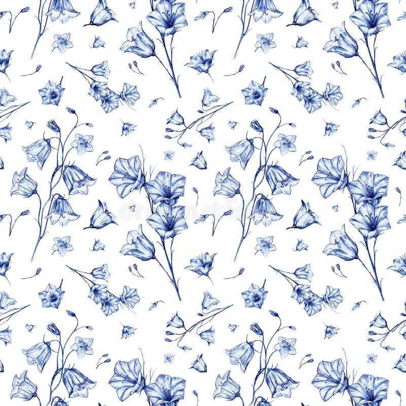 Hand drawn floral seamless pattern background with randomly located elegant blue bluebell flowers on white background. Hand drawn floral seamless pattern stock illustration
