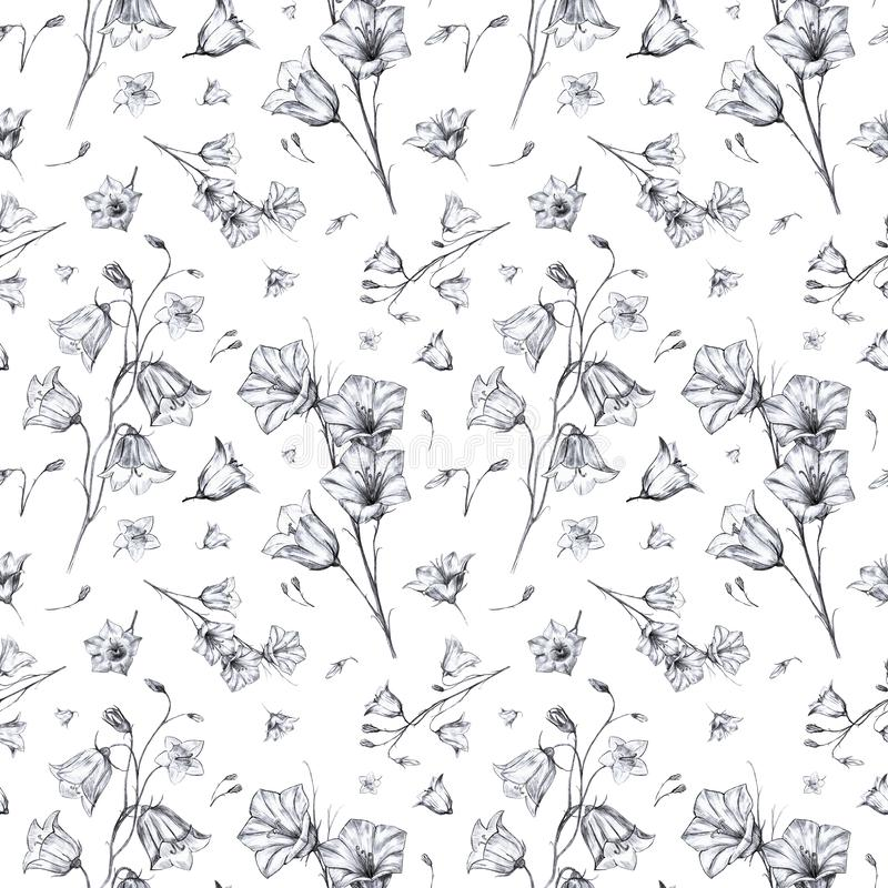Hand drawn floral seamless pattern background with randomly located elegant gray and black graphic bluebell flowers on. Hand drawn floral seamless pattern vector illustration