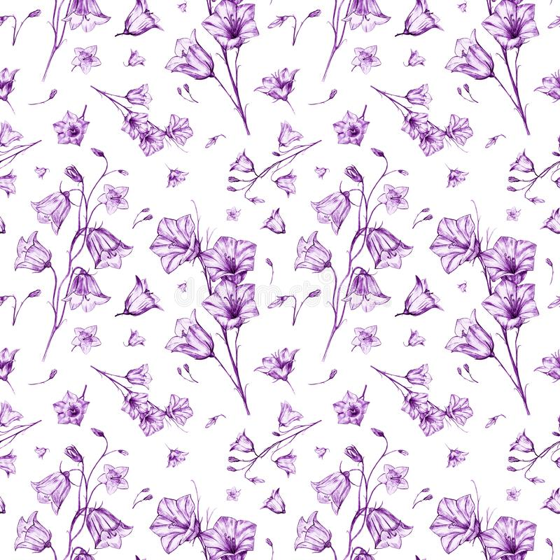Hand drawn floral seamless pattern background with randomly located elegant violet bluebell flowers on white background. Hand drawn floral seamless pattern stock illustration