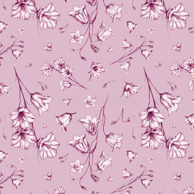 Hand drawn floral seamless pattern background with randomly located pink graphic bluebell flowers on pink background. Hand drawn floral seamless pattern royalty free illustration