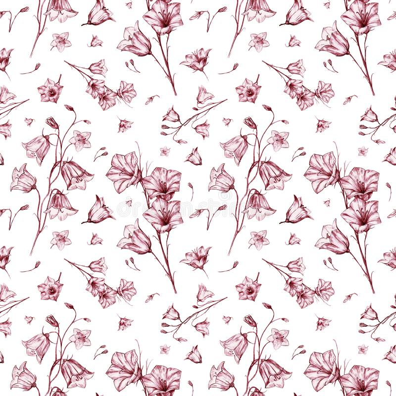 Hand drawn floral seamless pattern background with randomly located red graphic bluebell flowers on white background. Hand drawn floral seamless pattern stock illustration