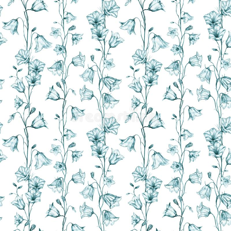 Hand drawn floral seamless pattern background with vertical green graphic bluebell flowers on white background. Hand drawn floral seamless pattern background vector illustration