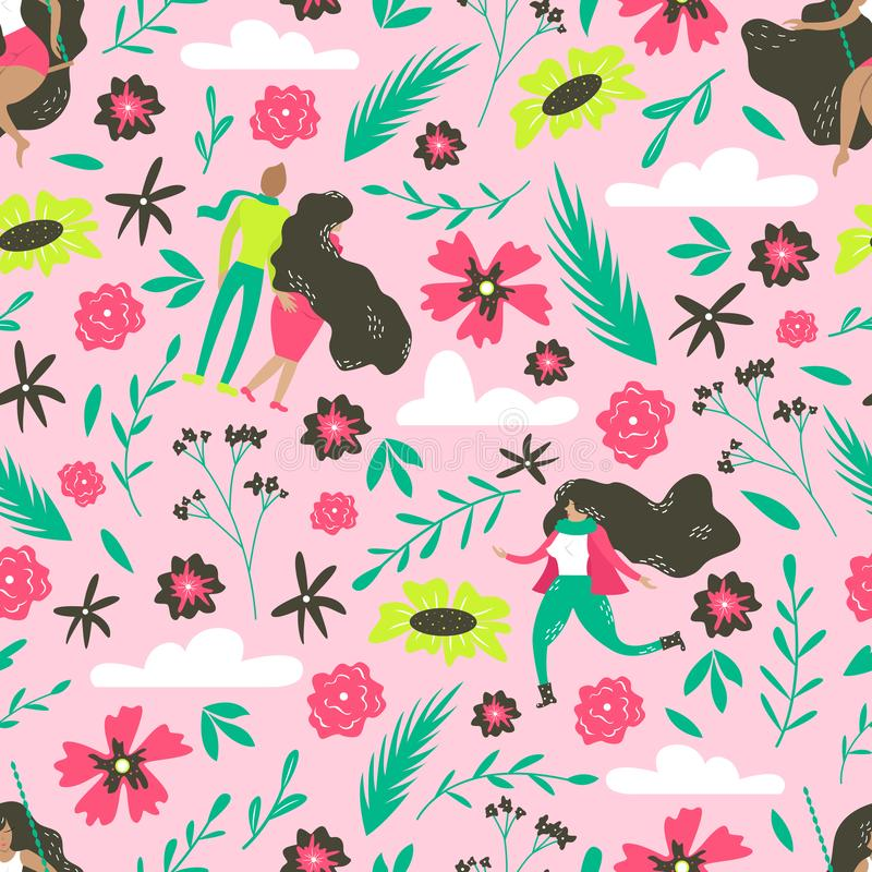 Hand-drawn floral seamless pattern. Vector botanical illustration with cute people royalty free illustration
