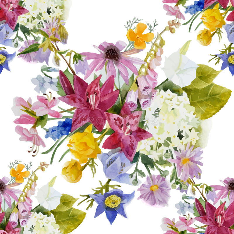 Hand drawn floral seamless pattern vector illustration