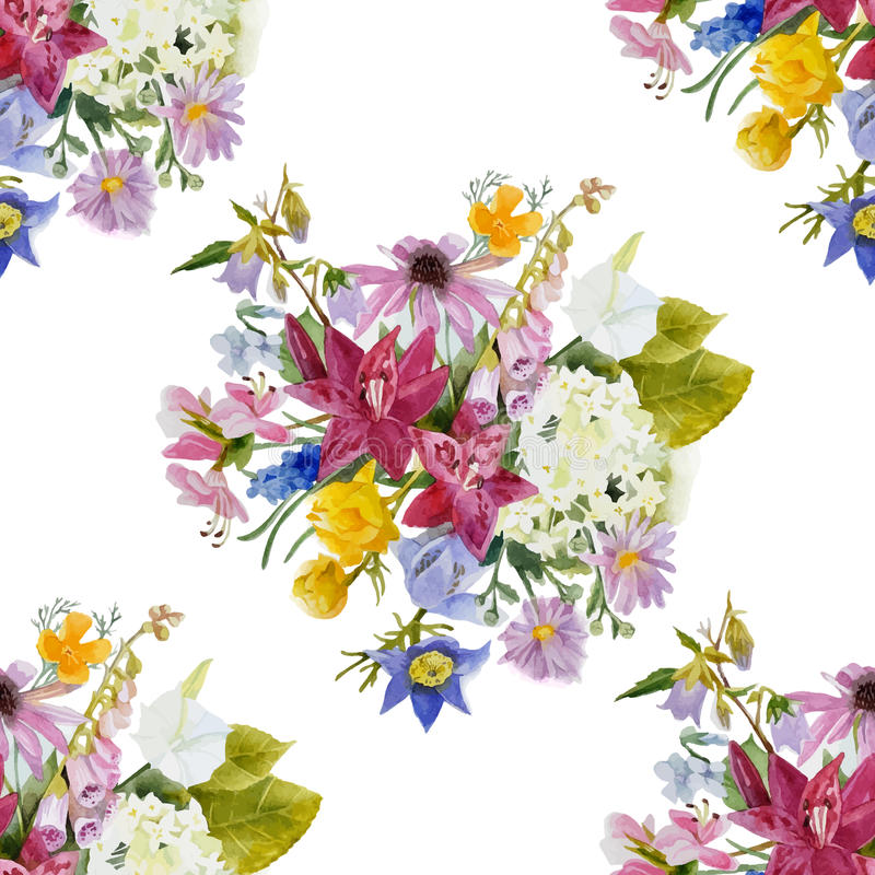Hand drawn floral seamless pattern royalty free illustration