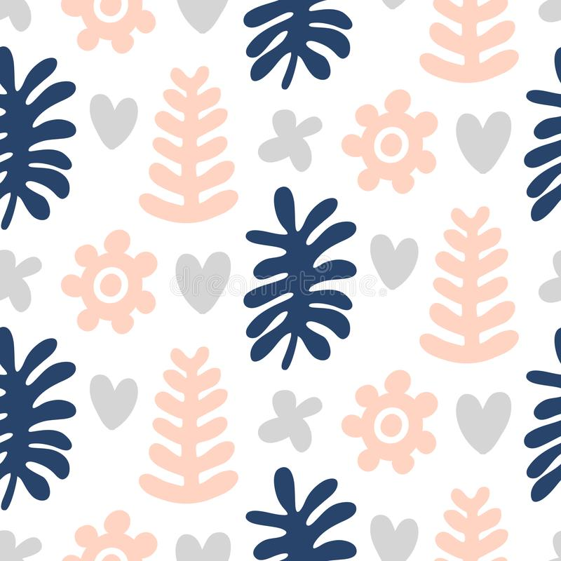 Hand drawn floral seamless repeat pattern vector illustration