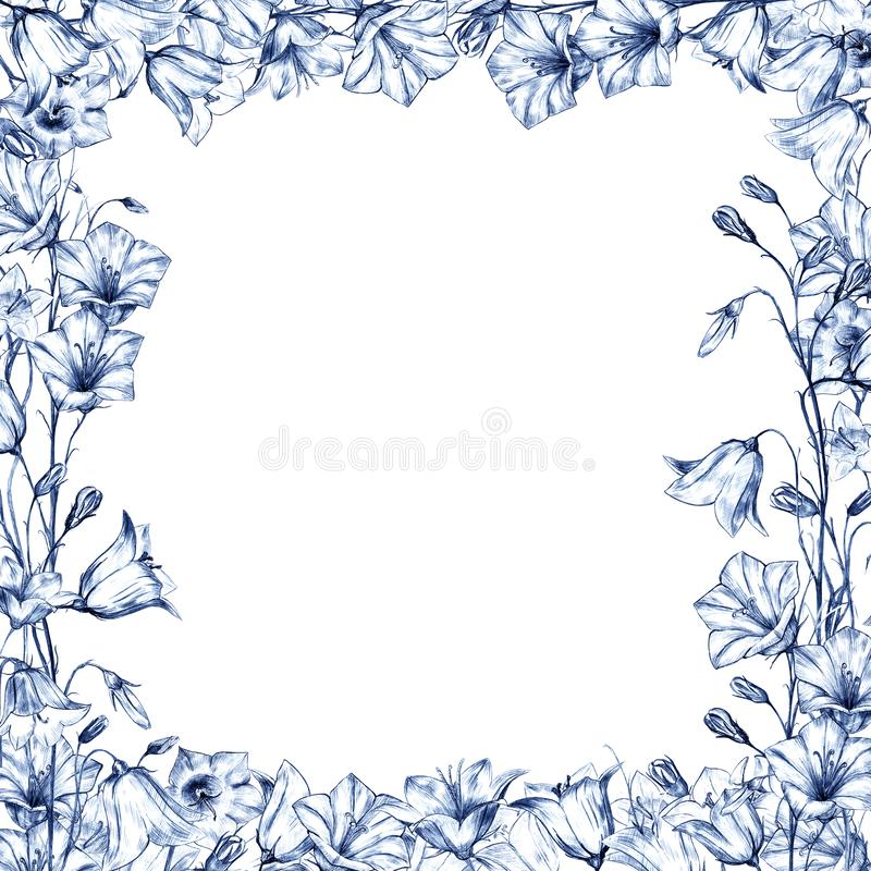 Hand drawn floral square frame with blue and dark blue bluebell flowers on white background. Hand drawn floral square frame with blue and dark blue graphic vector illustration