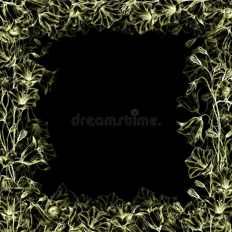 Hand drawn floral square frame with gold graphic bluebell flowers on black background and transparent floral layer. Hand drawn floral square frame with graphic royalty free illustration