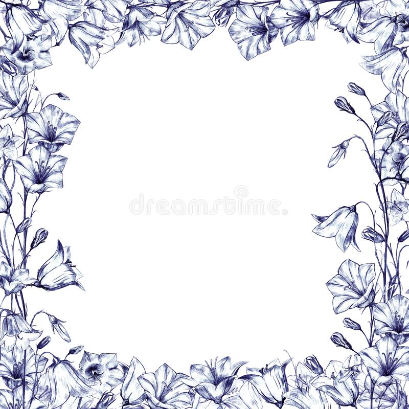 Hand drawn floral square frame with graphic bluebell flowers on white background. Hand drawn floral square frame with graphic bluebell flowers vector illustration