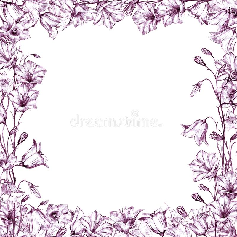 Hand drawn floral square frame with red graphic bluebell flowers on white background. Hand drawn floral square frame with red graphic bluebell flowers vector illustration