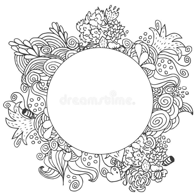 Hand Drawn Floral Vector Doodle Round Monochrome Card Design Stock Vector - Illustration Of ...