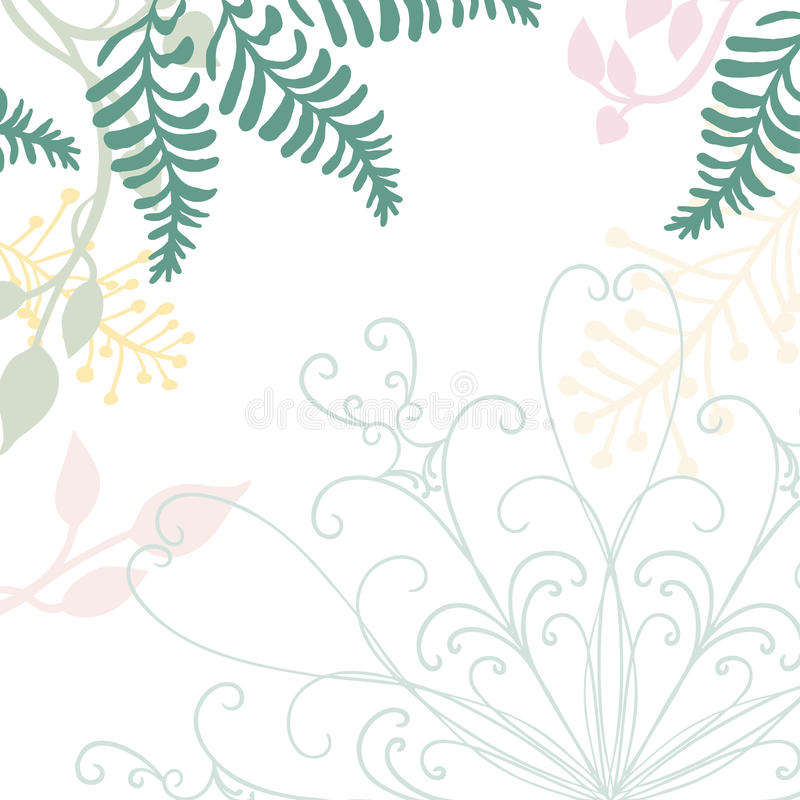 Hand drawn floral vector with lace design element and pastel nature illustrations of green ferns ivy and flowers vector illustration