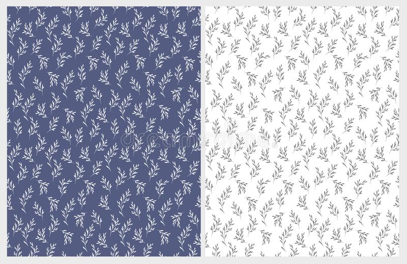 Hand Drawn Floral Vector Patterns. Delicate White and Gray Twigs on Blue and White Backgrounds. vector illustration