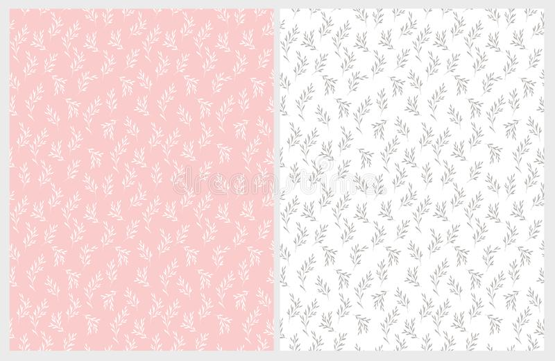 Hand Drawn Floral Vector Patterns. Delicate White and Gray Twigs on Pink and White Backgrounds. Hand Drawn Floral Vector Patterns. Pink and White Backgrounds vector illustration