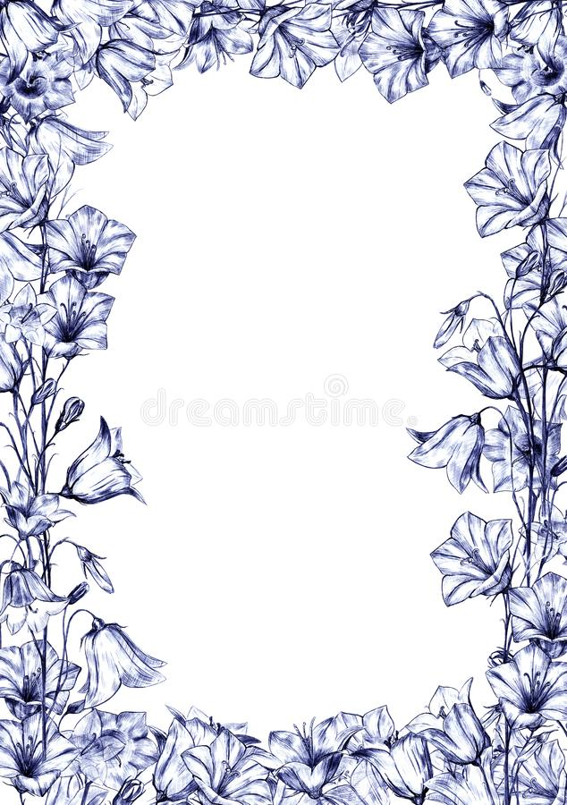 Hand drawn floral vertical rectangular frame with blue graphic bluebell flowers on white background. Hand drawn floral vertical rectangular frame with graphic royalty free illustration