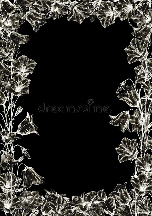Hand drawn floral vertical rectangular frame with crystal white graphic bluebell flowers on black background. Hand drawn floral vertical rectangular frame with royalty free illustration