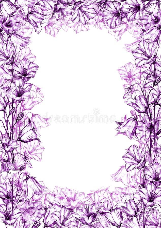 Hand drawn floral vertical rectangular frame with graphic bluebell flowers on white background. Hand drawn floral vertical rectangular frame with graphic vector illustration