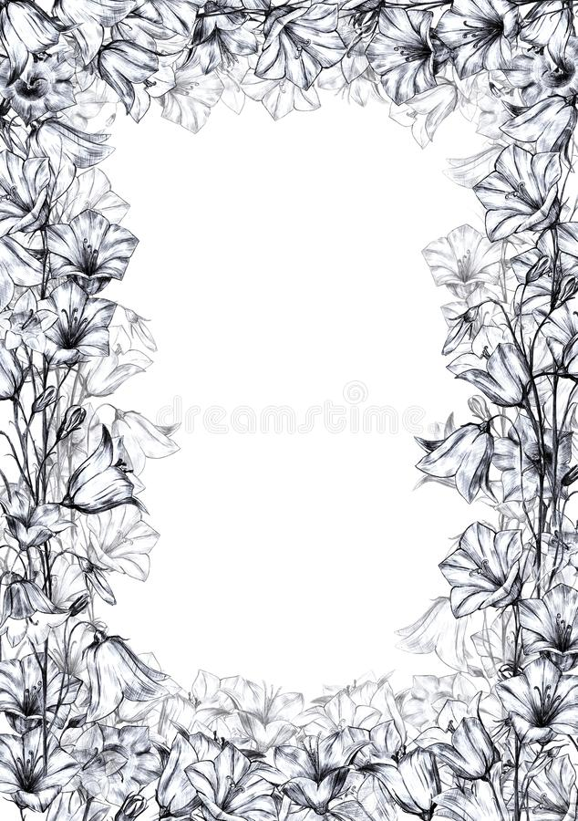 Hand drawn floral vertical rectangular frame with gray graphic bluebell flowers and translucent layer flowers on white. Hand drawn floral vertical rectangular stock illustration