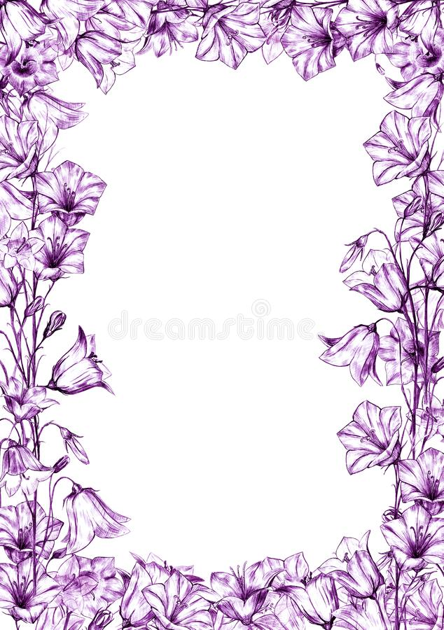 Hand drawn floral vertical rectangular frame with lilac and violet graphic bluebell flowers on white background. Hand drawn floral vertical rectangular frame vector illustration