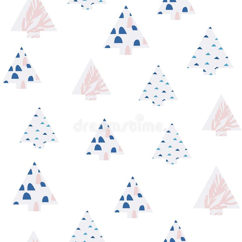 Hand drawn floral winter seamless pattern with abstract christmas tree. vector illustration