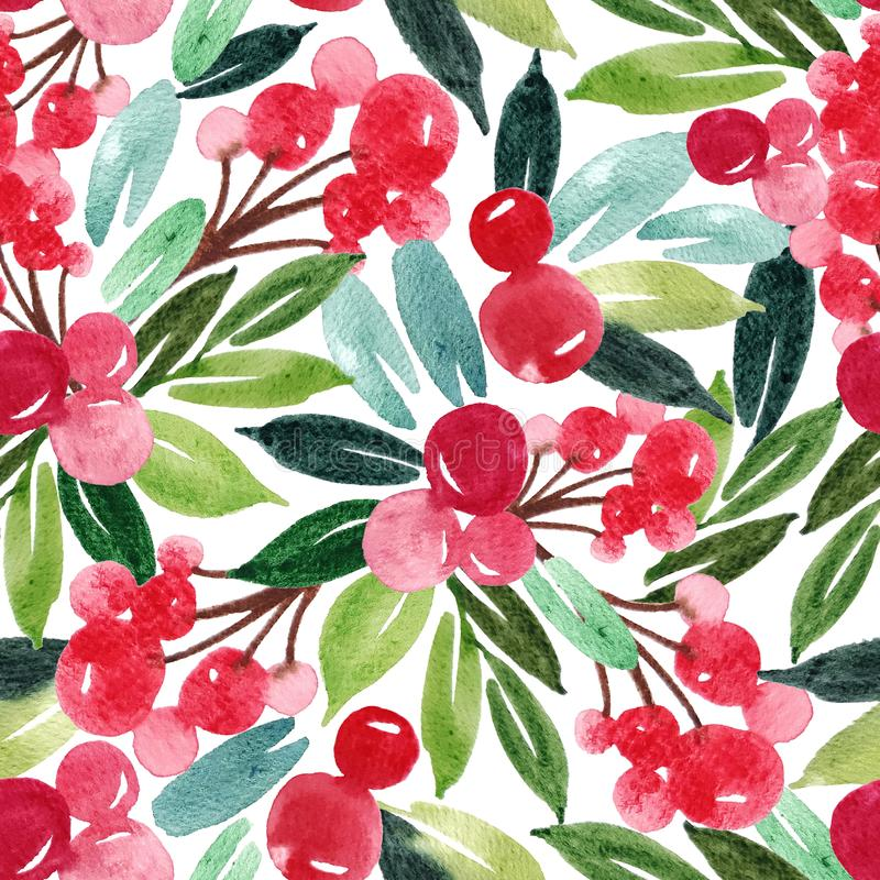 Hand drawn floral winter seamless pattern with christmas tree branches and berries. Watercolor illustration background vector illustration