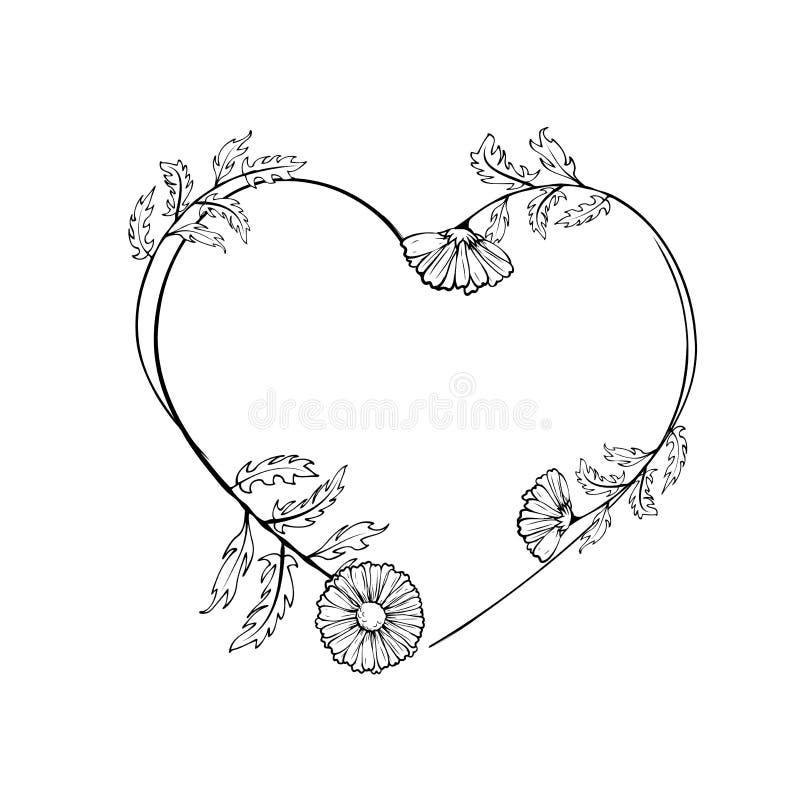 Hand drawn floral wreath stock illustration