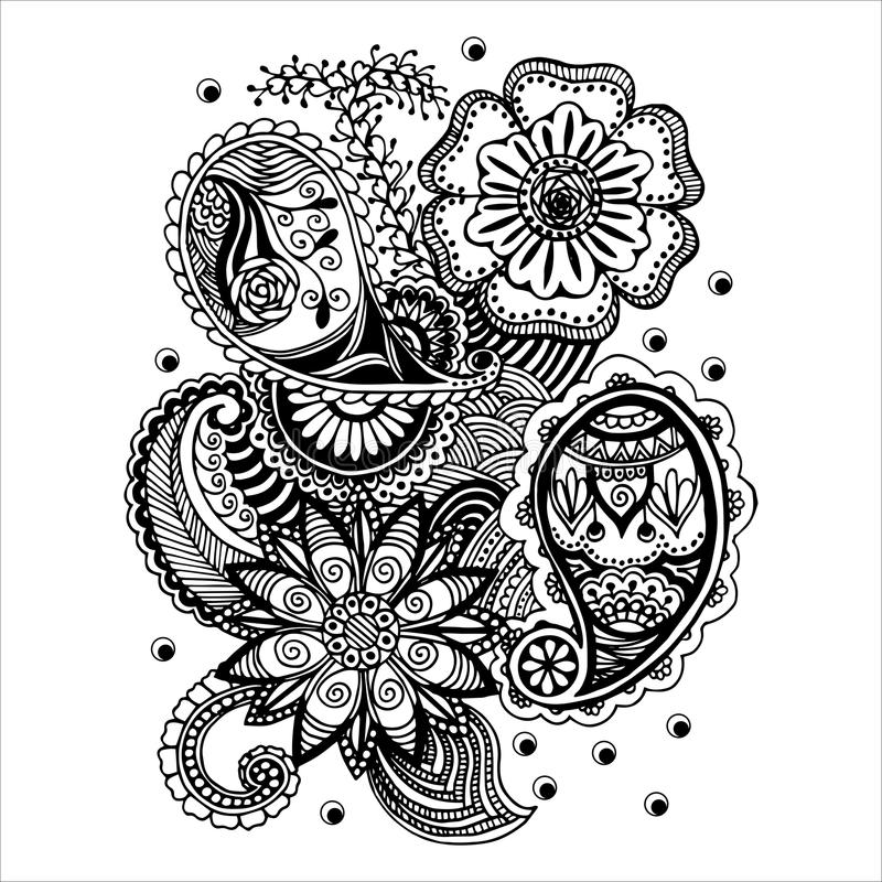 Download Hand Drawn Floral Zentangle On White Background Stock Vector