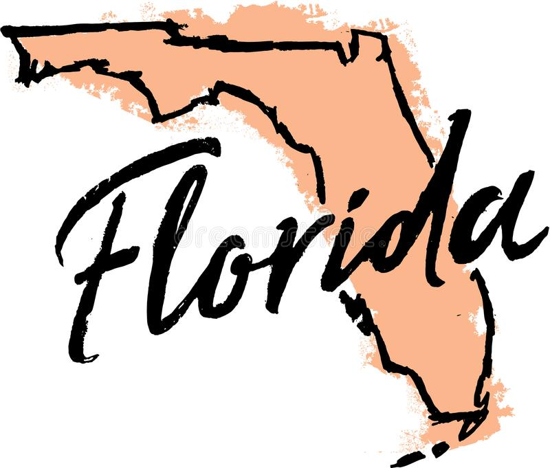 Hand Drawn Florida State Sketch stock illustration
