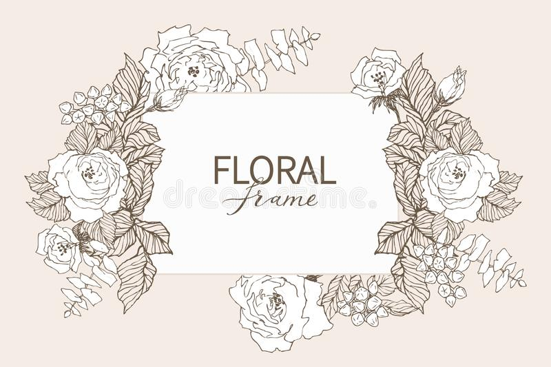 Floral vector design frame. Linear roses, eucalyptus, berries, leaves witn white silhouette. Wedding card on pink. All royalty free illustration