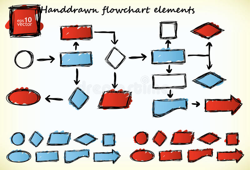 Hand-drawn flowchart. Elements with blue and red colored parts vector illustration